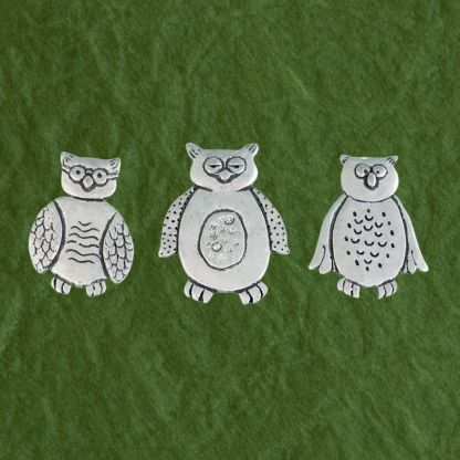 Pewter Magnets-Wise Owls