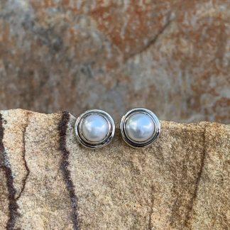 Pearl Sterling Stud Earrings