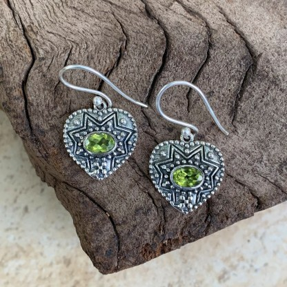 Peridot Sterling Heart Earrings