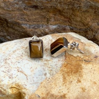 Tigers Eye Sterling Studs