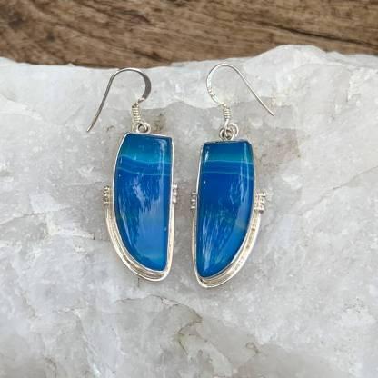 Botswana Agate Azure Earrings