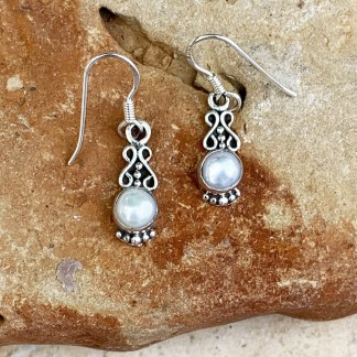 Sterling Pearl Dangle Earrings