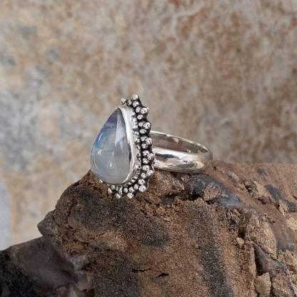 Rainbow Moonstone Teardrop Ring
