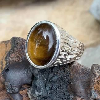 Carved Tiger Eye Ring