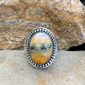 Sterling Orange Jasper Ring