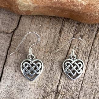 Sterling Celtic Heart Earrings