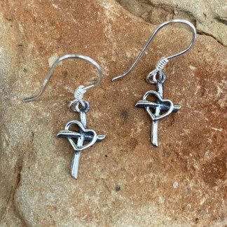 Sterling Cross & Heart Earrings