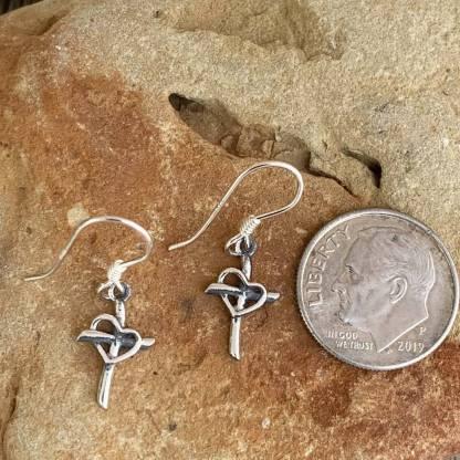 Sterling Cross & Heart Earrings