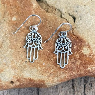 Sterling Hamsa Filigree Earrings