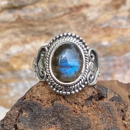 Labradorite Sterling Heart Ring