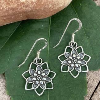 Sterling Blooming Lotus Earrings