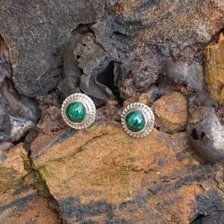 Sterling Malachite Stud Earrings