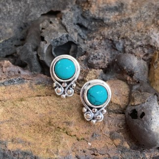 Turquoise Sterling Dainty Studs