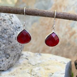 Faceted Garnet Pear-Shaped Earrings