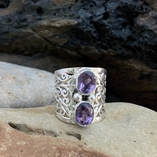 Wide Sterling Double-Amethyst Ring