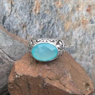 Aqua Chalcedony Oval Ring
