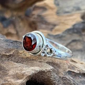 Sterling Round Garnet Ring