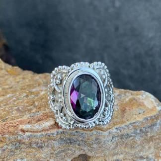 Mystic Topaz Ornate Ring