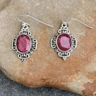Ornate Sterling & Ruby Earrings