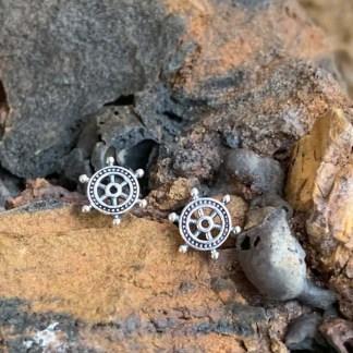 Ship's Wheel Stud Earrings