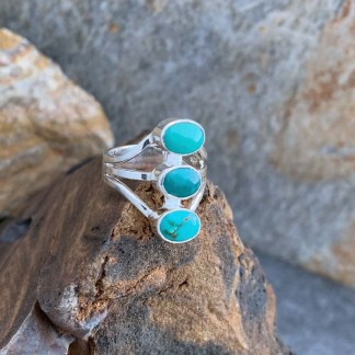 Triple Turquoise Sterling Ring