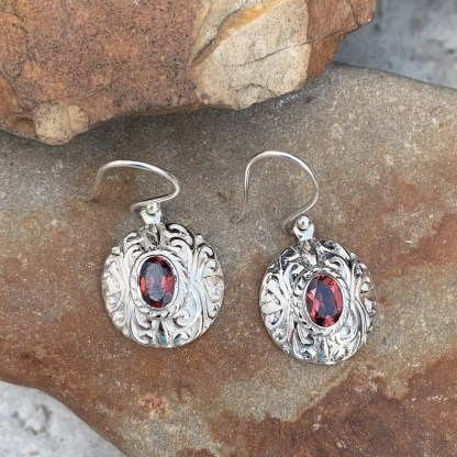 Sterling Oval Garnet Earrings