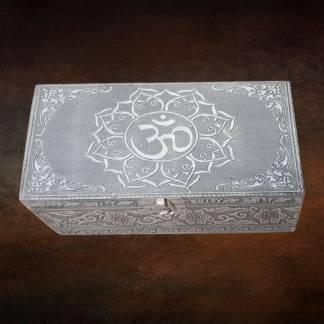 Om Hammered Tin Box