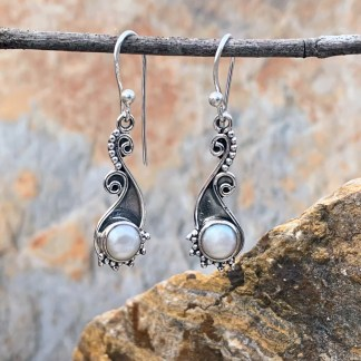 Elegant Sterling Pearl Earrings