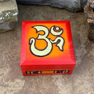 Handcrafted Red Om Box