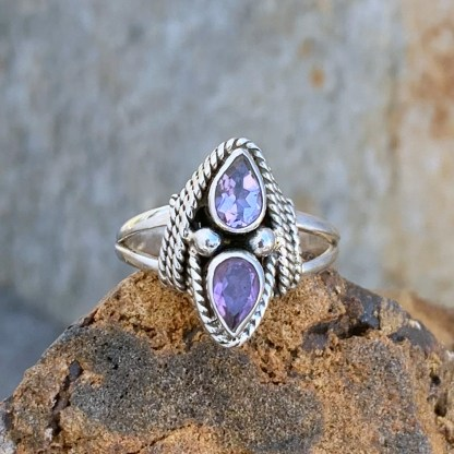 Double Faceted Amethyst Ring