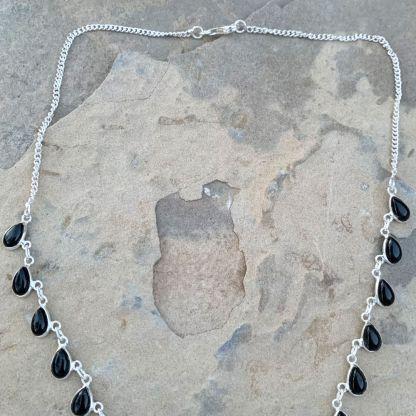 Black Onyx Waterfall Necklace