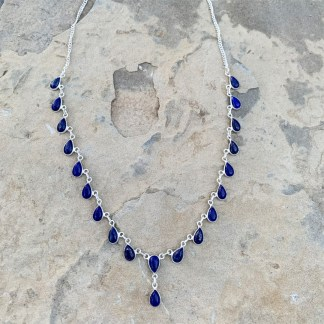 Sterling Lapis Waterfall Necklace