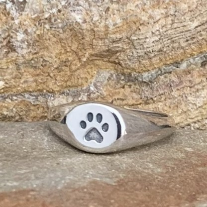 Sterling Paw Signet Ring