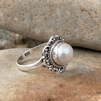 Sterling Floral Pearl Ring
