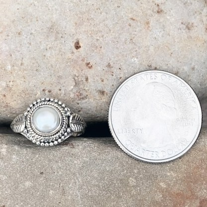 Sterling Pearl Leaf Ring