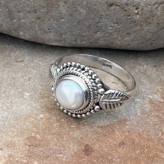 Sterling Pearl Leaf Ring