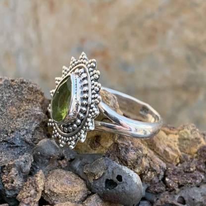 Sterling Teardrop Peridot Ring