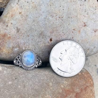 Rainbow Moonstone Double-Heart Ring