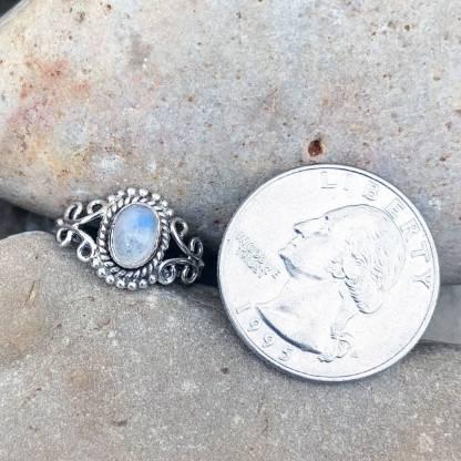 Dainty Rainbow Moonstone Ring