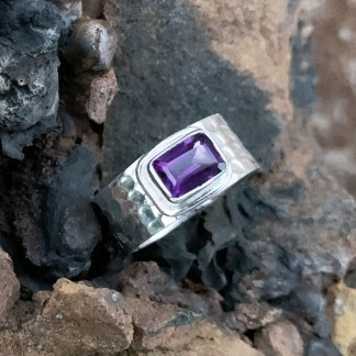 Amethyst Hammered Sterling Ring