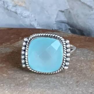 Square Aqua Chalcedony Ring