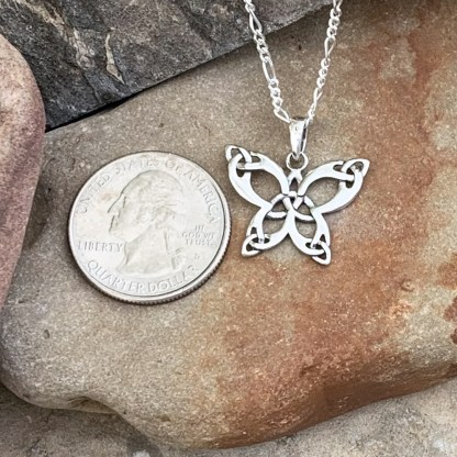 Sterling Triquetra Butterfly Pendant