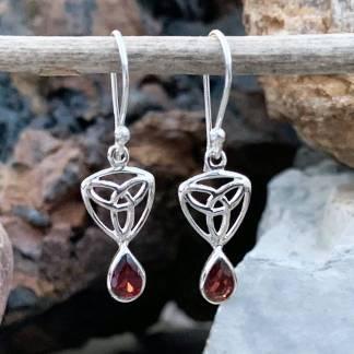 Sterling Triquetra Garnet Earrings