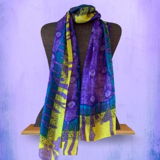 Om Purple Silk Scarf