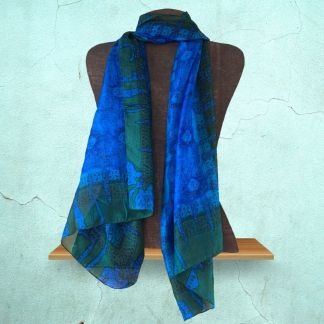 Om Blue Silk Scarf