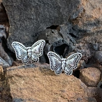 Antiqued Sterling Butterfly Studs