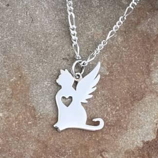 Sterling Cat Angel Pendant