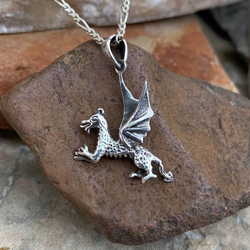 Sterling Flying Dragon Pendant
