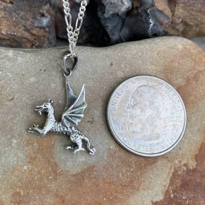 Sterling Playing Dragon Pendant