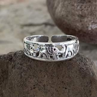 Sterling Elephants Toe Ring